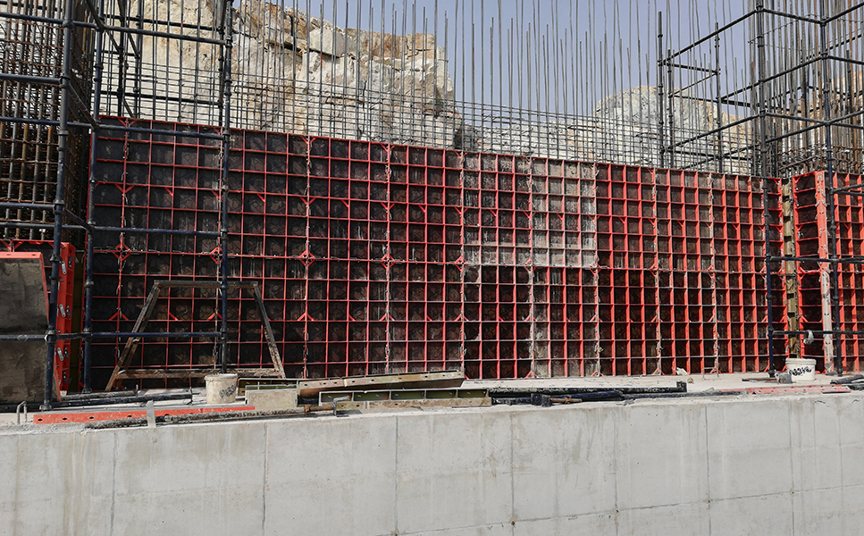 Wall formed with Modular formwork
