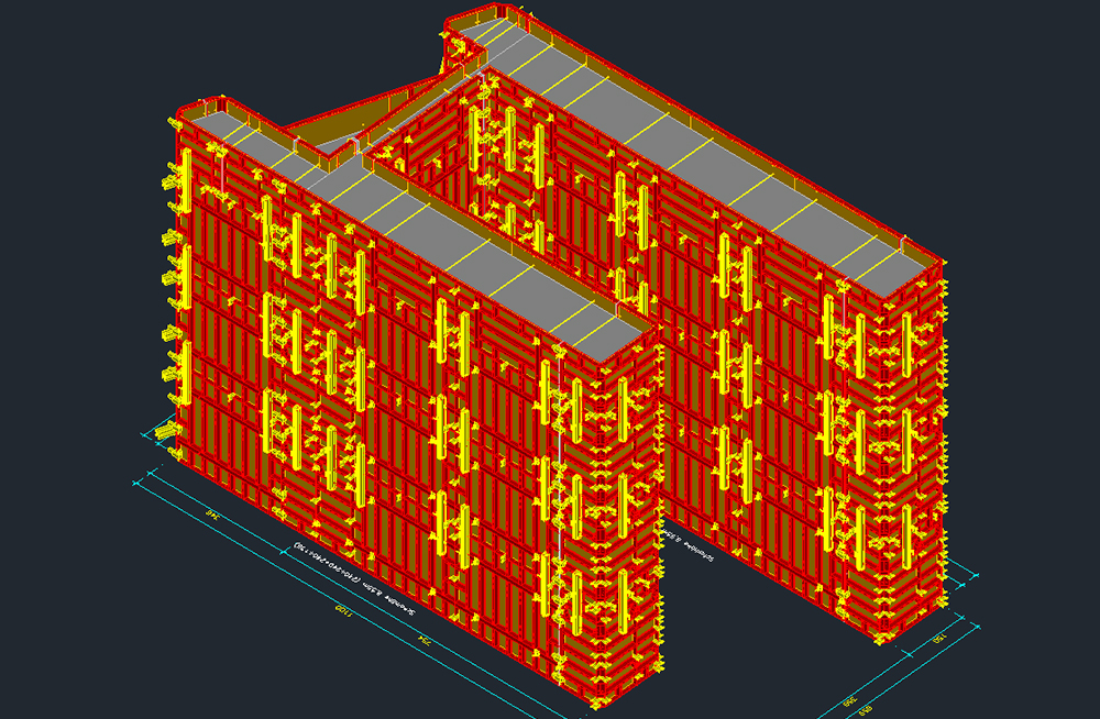 formwork planning with 3D view for the abutments for bridge