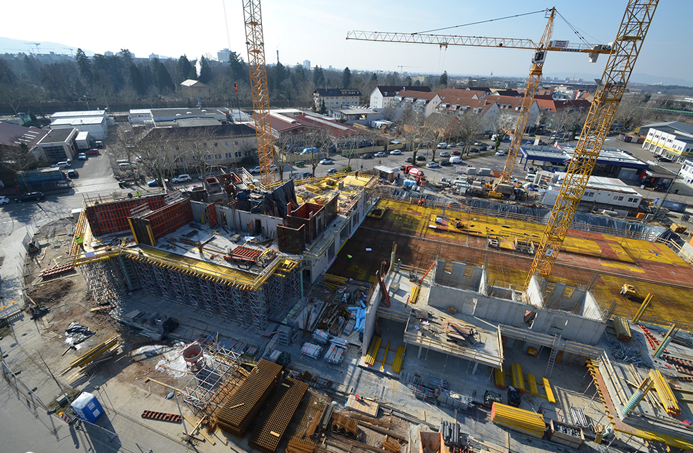 Overview of construction site and formwork