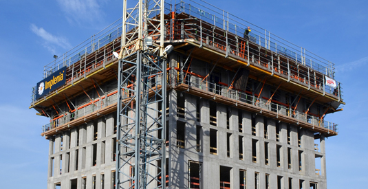 Demanding reinforced concrete superstructure built rapidly, safely and efficiently up to a height of 63m using PASCHAL.