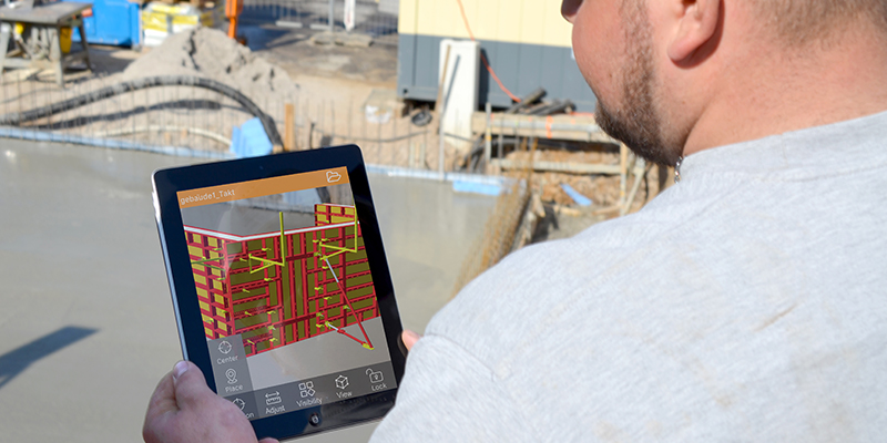PASCHAL AR app used on construction site